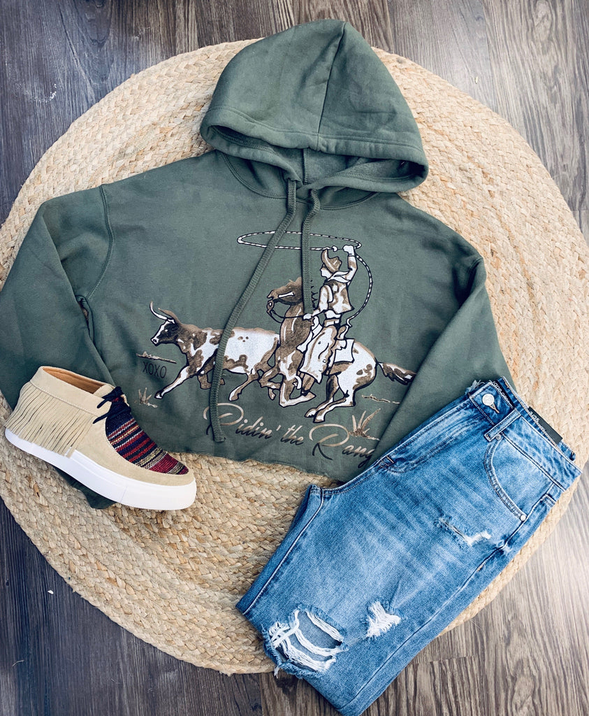 Ridin' the Range Womens Rhinestone Crop Hoodie-JH Boutique-Jobes Hats