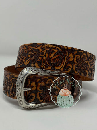 Roper Womens Belt Tan Tooled - Jobes Hats