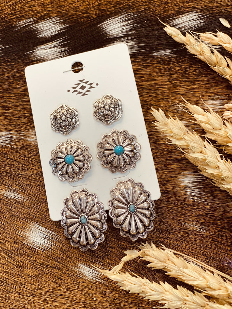 Silver/Turquoise Concho Earrings Set - Jobes Hats