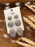 Silver/Turquoise Concho Earrings Set