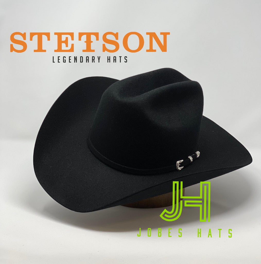 "Stetson 5X Lariat Black 4"" 3/4 Crown 4"" Brim - Jobes Hats"