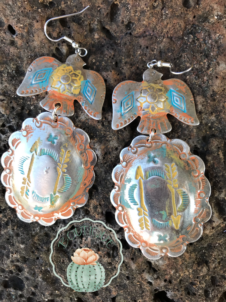 Thunderbird Steel Handpainted Earrings - Jobes Hats