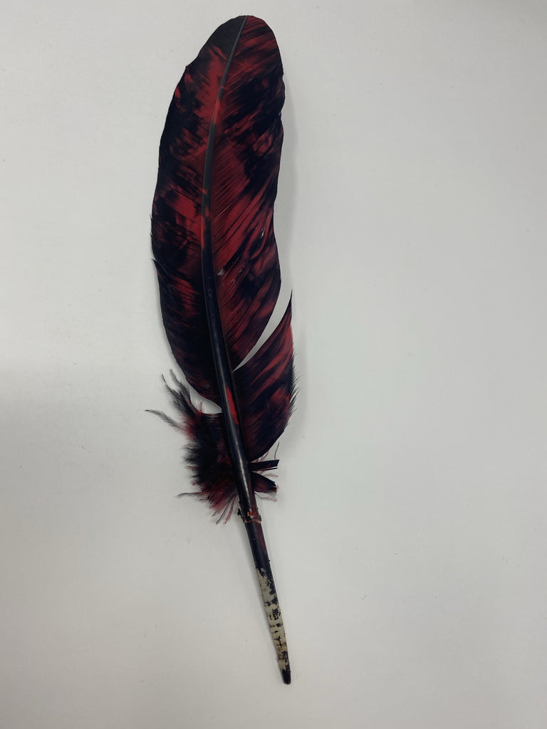 Turkey Feather- RED Painted Turkey Feather - Jobes Hats