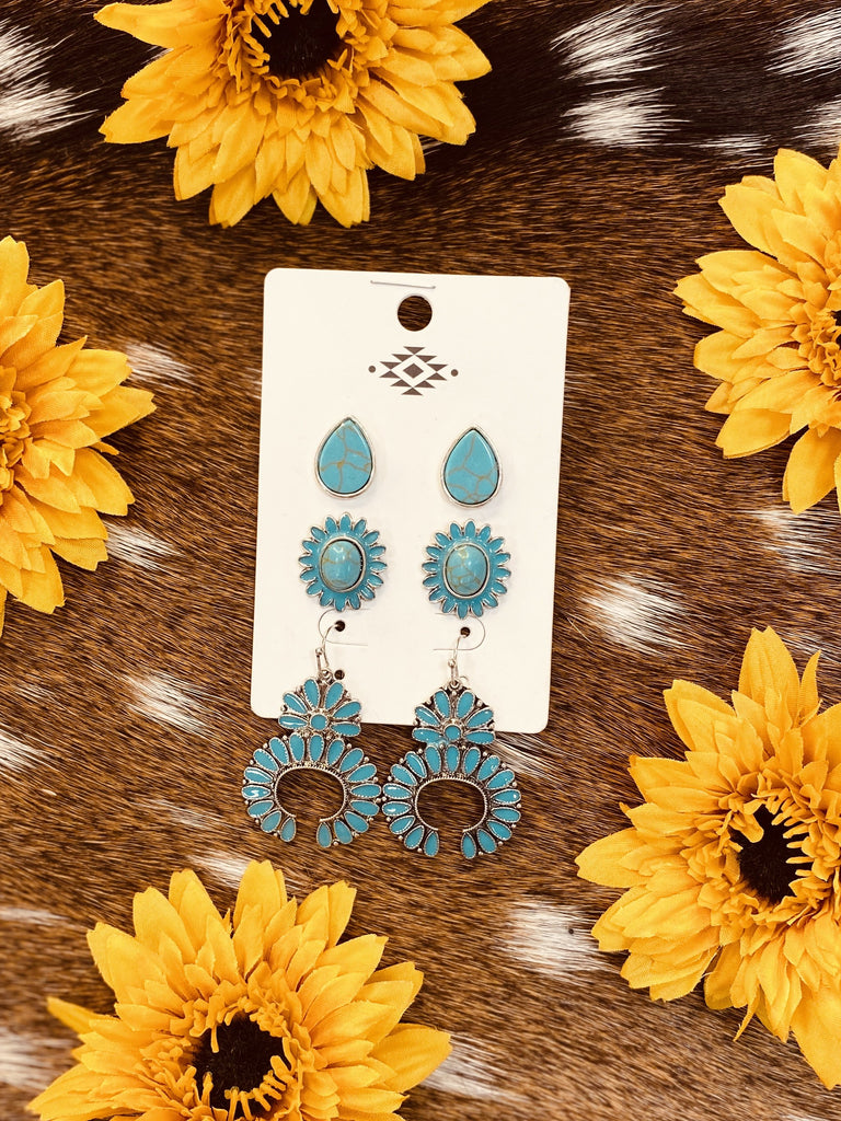 Turquoise Concho Stud Earrings-JH Boutique-Jobes Hats