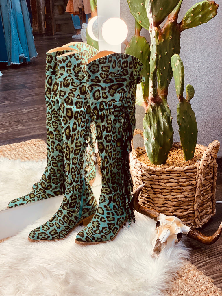 Turquoise Leopard Fringe Over the Knee Women's Boots - Jobes Hats