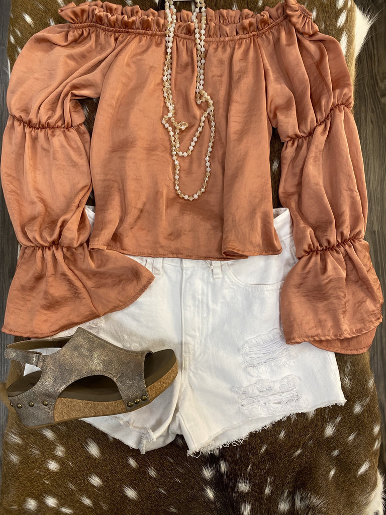 White Denim distressed Shorts - Jobes Hats