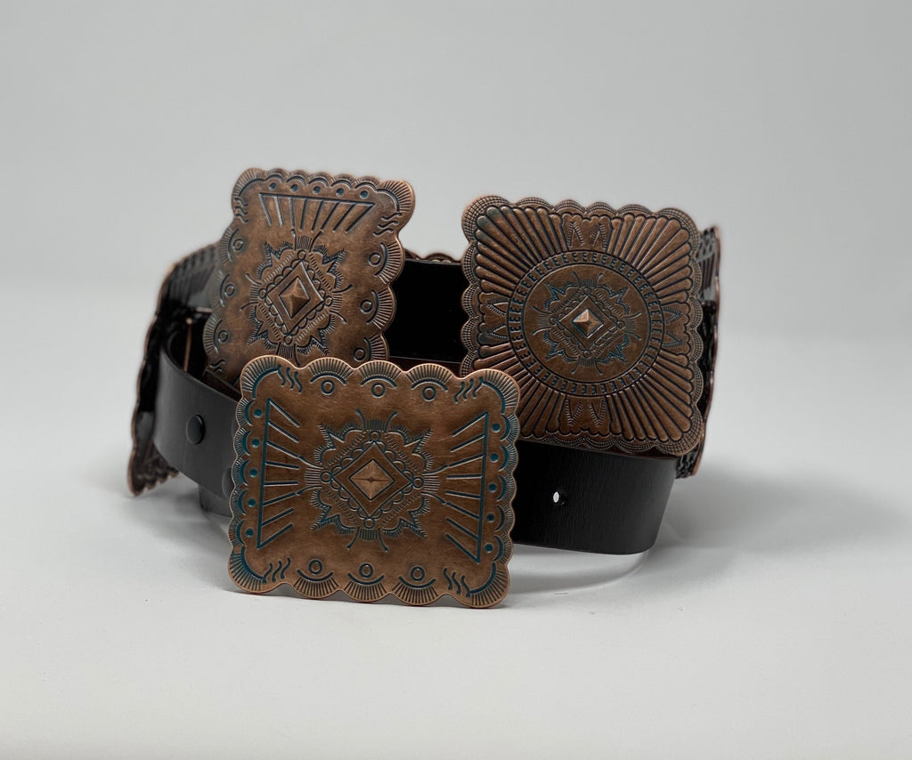Womens Belt Brown Square Concho - Jobes Hats