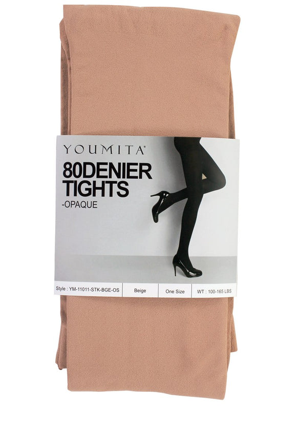 Ladies fashion non-run opaque tights with non-binding waistband
