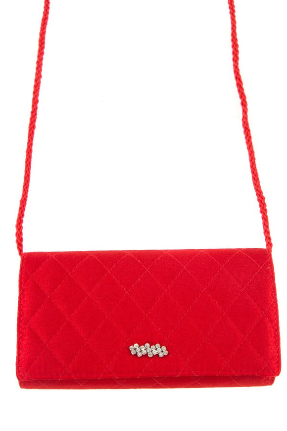 Quilted diamond pattern rhinestone accent mini shoulder bag
