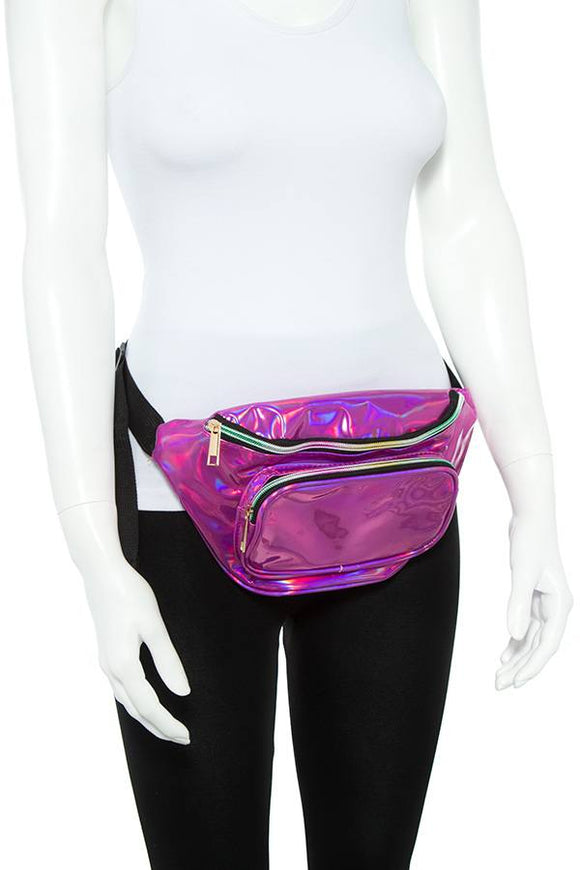 Ladies fashion holographic shiny fanny pack