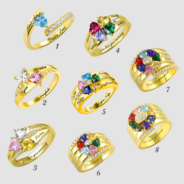 Personalized Heart Birthstone Engravable Ring