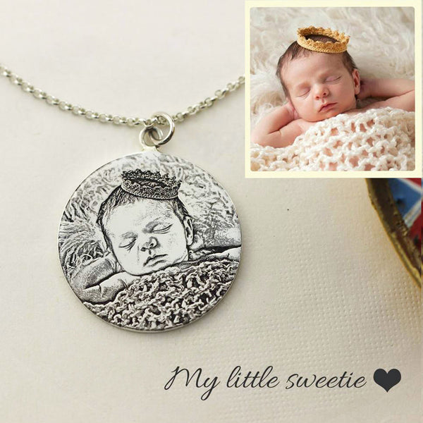 Personalized Photo Engraved Necklace (Circular Plate)