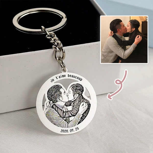 Personalized Photo Engraved Keychain (Circle Frame)