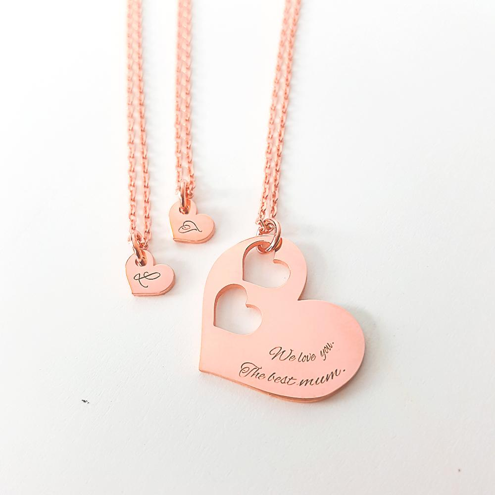 Personalized Paired Hearts Necklaces - Del Valle