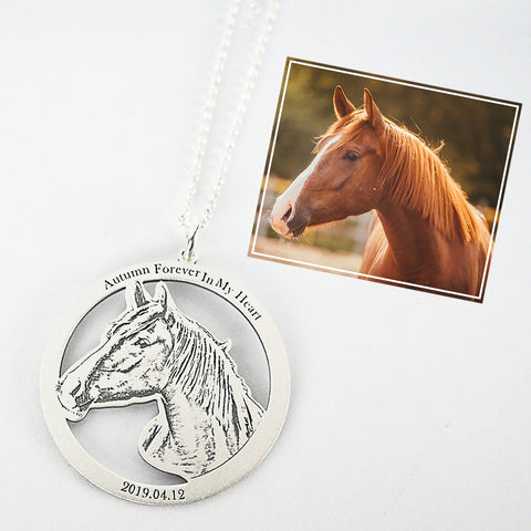 Personalized Photo Engraved Necklace (Circle Frame)