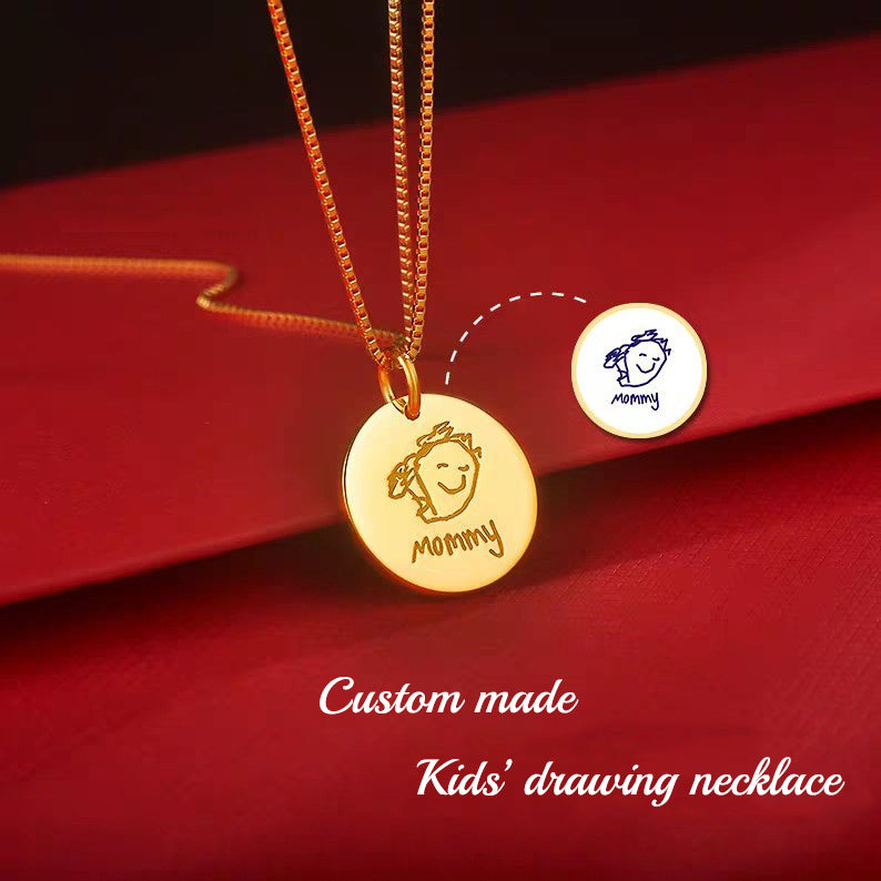 Kids drawing Necklace (Circular Plate)