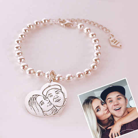 Heart Shaped Photo Bracelet with Silver Beads Chain