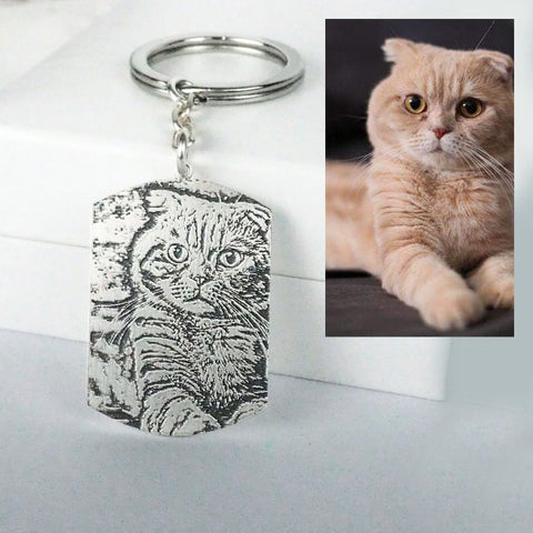 Personalized Photo Dog Tag Keyring