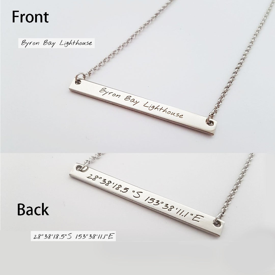 Personalized Favourite Place Bar Necklaces - Del Valle