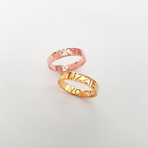 Personalized Hollow-Cut Rings - Del Valle