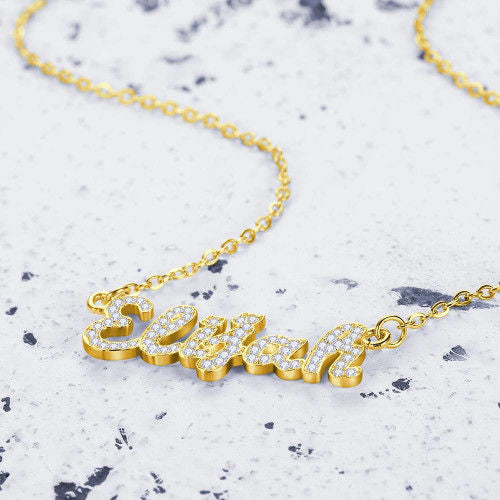 Crystal Pave Aesthetic Style Personalized Name Necklace