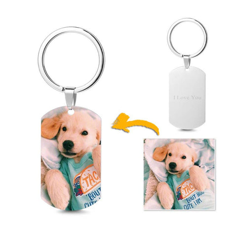 Men's Photo Dog Tag Keyring With Back Engraving Stainless Steel