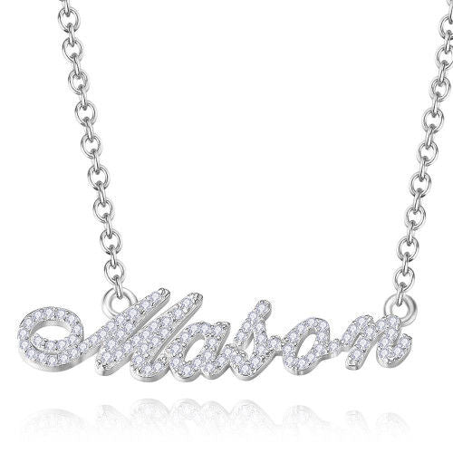 Crystal Pave Vivace Style Personalized Name Necklace