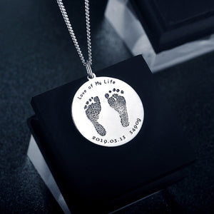 Baby footprints Necklace (Circular Plate)