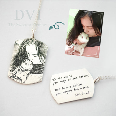 Photo Engraved Dog Tag Necklace