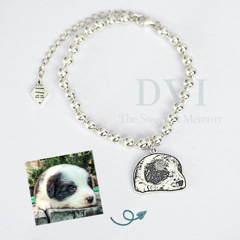 Photo Bracelet with Silver Beads Chain