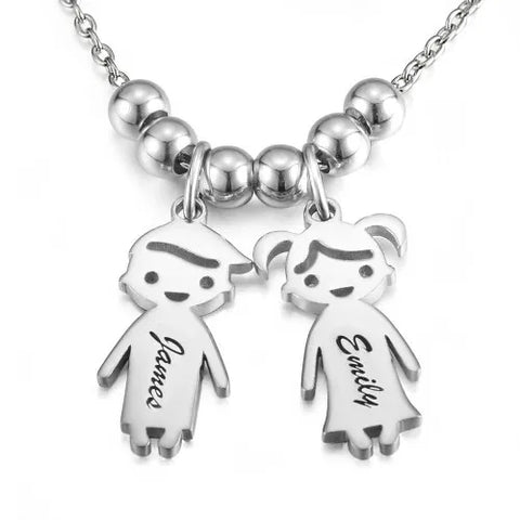 Smiley Children Charm Engravable Necklace