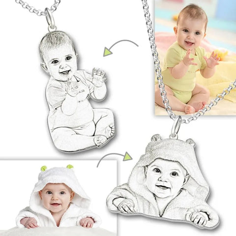 Personalized Baby Kids Photo Necklace