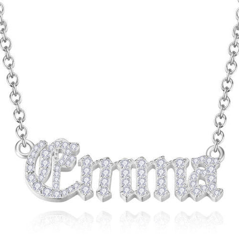 Crystal Pave Old London Style Personalized Name Necklace