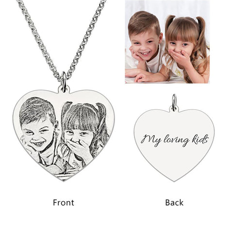 Personalized Photo Engraved Necklace (Heart shaped)