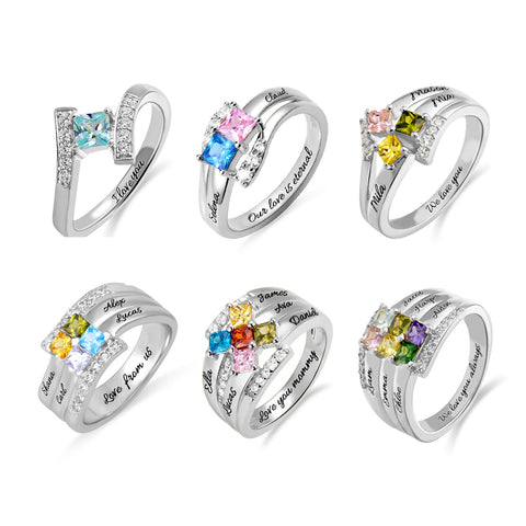 Personalized Princess-Cut Birthstone Engravable Ring