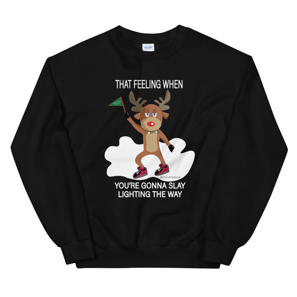 Rudolph Slaying Meme Black Crew Neck Holiday Sweater - Amaculent Apparel - Amaculent Apparel