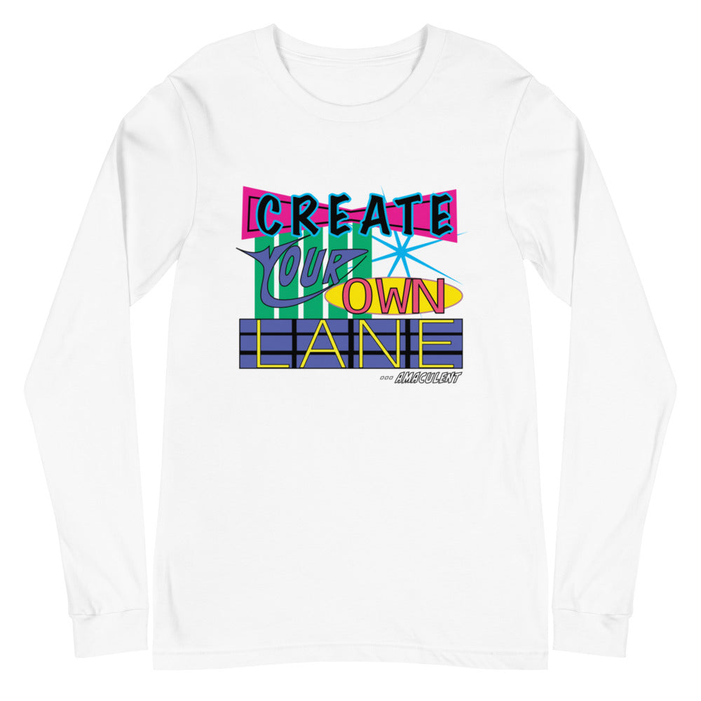 Create Your Own Lane - White - Amaculent Apparel Long Sleeve Tee - Amaculent Apparel