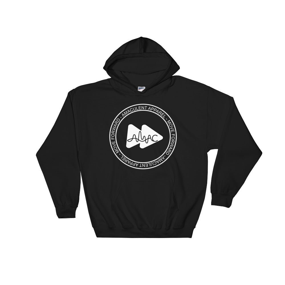 Amaculent Apparel Stamp Logo WHT Outline - Heavy Blend Hooded Sweatshirt - Amaculent Apparel