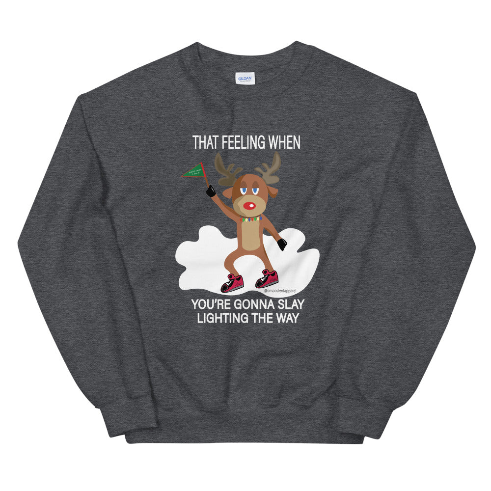Rudolph Slaying Meme Dark Grey Crew Neck Holiday Sweater - Amaculent Apparel - Amaculent Apparel