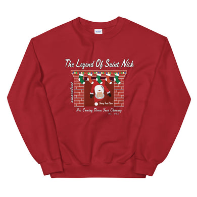 The Legend of Saint Nick Red Holiday Crew Neck Sweater - Amaculent Apparel - Amaculent Apparel