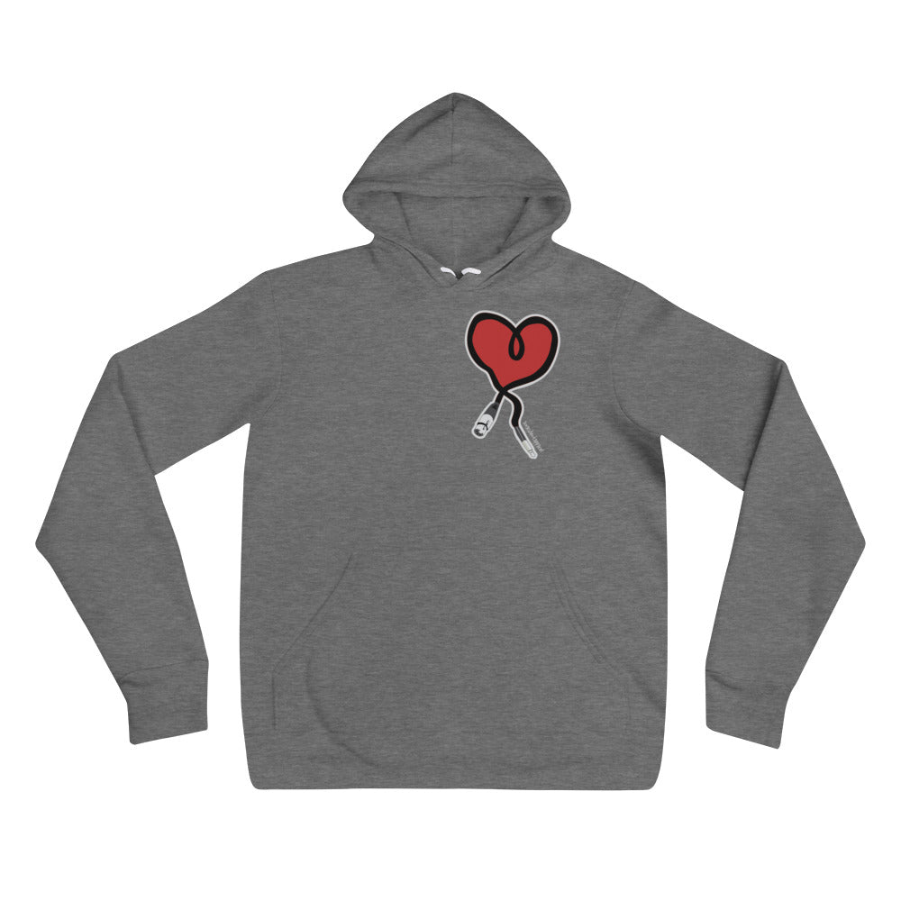I Heart Audio - White/ Heather Grey - Amaculent Apparel Unisex hoodie - Amaculent Apparel