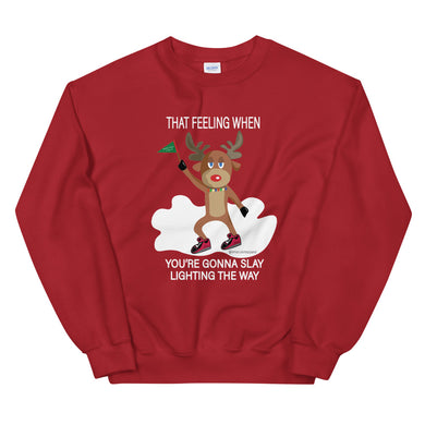 Rudolph Slaying Meme Red Crew Neck Holiday Sweater - Amaculent Apparel - Amaculent Apparel