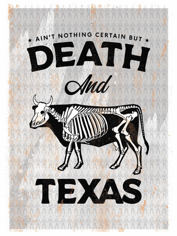Death and Texas (black, orange, gray) - Beast Syndicate - Various Sizes (canvas print)