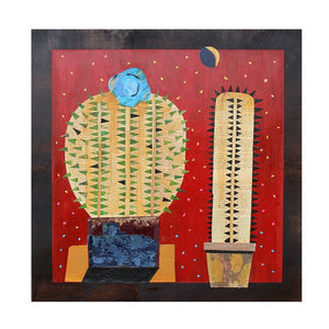 2 Cacti With The Blue Flower - Larry Goode - 24x24""