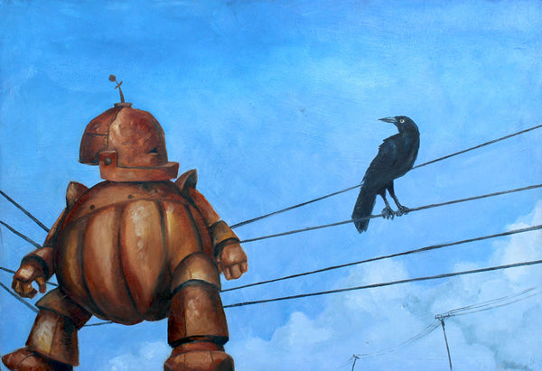 Bot on a Wire - Lauren Briere - 16x24""