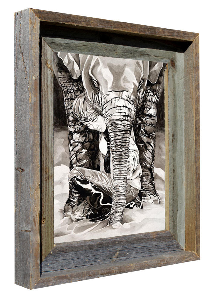 "Breaking Cycles: Lek Chailert, Elephant Whisperer - Flip Solomon - 11x13"" Framed"