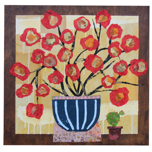 Red Flowers with Small Cactus - Larry Goode - 24x24""