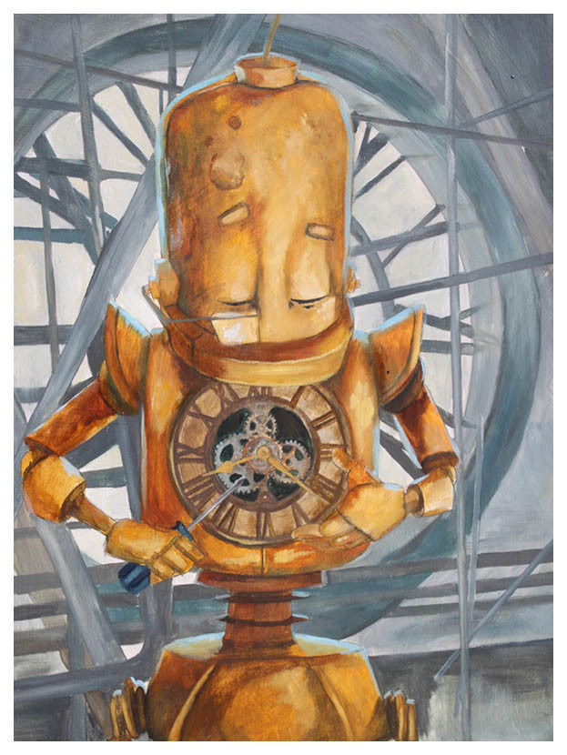 Clock Bot - Print by Lauren Briere