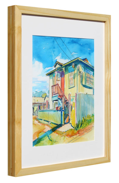 Colorful Building Behind Juiceland - Sari Shryack - 12x16""