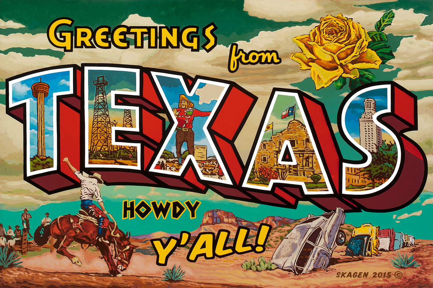 Greetings From Texas Rory Skagen Austin Painting Austin Art Garage
